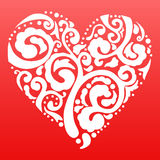 Vector Valentine's day lacy heart greeting card on Royalty Free Stock Photography