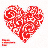 Vector Valentine's day lacy heart greeting card on. Vector Valentine's day lacy heart greeting background Royalty Free Stock Images