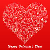 Vector Valentine's day lacy heart greeting card on Royalty Free Stock Images