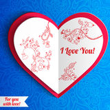 Vector Valentine's day lacy heart greeting card on Stock Photos