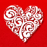 Vector Valentine's day lacy paper heart greeting Stock Images