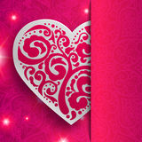 Vector Valentine's day lacy paper heart greeting Stock Photo