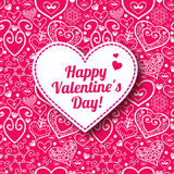Vector Valentine's day lacy paper heart greeting Stock Image