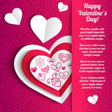 Vector Valentine's day lacy paper heart greeting Royalty Free Stock Image