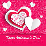 Vector Valentine's day lacy paper heart greeting. Vector Valentine's day lacy heart greeting background Stock Image