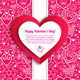Vector Valentine's day lacy paper heart greeting. Vector Valentine's day lacy heart greeting background Royalty Free Stock Images
