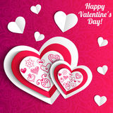 Vector Valentine's day lacy paper heart greeting. Vector Valentine's day lacy heart greeting background Stock Photo