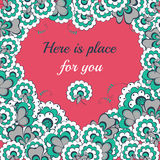Vector Valentine's day lflowers heart greeting card Royalty Free Stock Images
