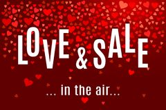 Vector Valentine`s day Love and Sale in the air banner template with red hearts on dark wine background Royalty Free Stock Images