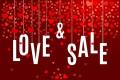 Vector Valentine`s day Love and Sale banner template with red hearts on dark wine background. Valentine`s day Love and Sale banner template with red hearts on Stock Photos