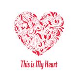 Vector Valentine`s Heart. Hand Drawn. Retro and Vintage Style stock illustration