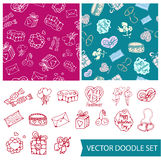 Vector valentine set. Vector doodle icons set and seamless patterns for St. Valentines Day royalty free illustration