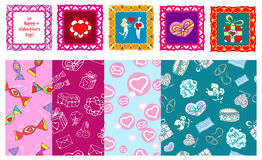 Vector valentine set. Vector doodle icons set and seamless patterns for St. Valentines Day vector illustration