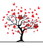 Vector valentine tree Royalty Free Stock Images
