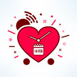 Vector valentines alarm clock reminder in modern flat design. Colorful timer icon made of heart in cartoon style Royalty Free Stock Photos