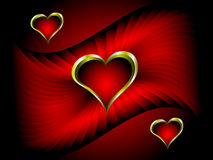 A vector valentines background with gold hearts Stock Images