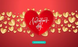 Vector Valentines background with romantic red and gold paper cut heart pattern with calligraphy lettering text Valentine`s Day f. Or love concept. Wedding Royalty Free Stock Photography