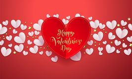 Vector Valentines background with romantic red paper cut heart pattern with gold calligraphy lettering text Valentine`s Day for l stock illustration