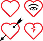 Vector valentines and broken hearts illustration Stock Photography