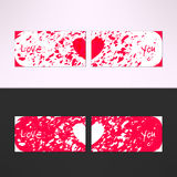 Vector valentines card with debris grunge background and love you text. Passion and romance design element Royalty Free Stock Photography