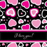 Vector valentines card on seamless hearts Stock Photos