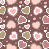 Vector valentines card on seamless hearts Royalty Free Stock Photos