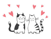 Vector valentines card with two cats Stock Photos