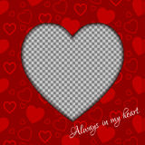 Vector Valentines day background from red hearts and place for your photo. Royalty Free Stock Photos