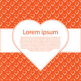 Vector valentines day background. White hearts on orange and text frame. Valentines day background. White hearts on orange and text frame. Vector illustration Stock Photo