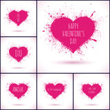 Vector Valentines Day backgrounds. Pink grunge hearts Stock Image