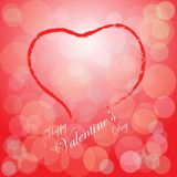 Vector of valentines day on bokeh background with red heart Royalty Free Stock Photography