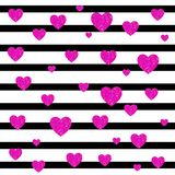 VECTOR. Valentines day card background. Black and white stripes and magenta hearts. VECTOR. Valentines day card background. Black and white stripes and bright Royalty Free Stock Photo