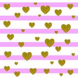 VECTOR. Card background. Light pink and white stripes and golden hearts. VECTOR. Valentines day card background. Light pink and white stripes and golden hearts Stock Images