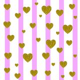 VECTOR. Card background. Light pink and white vertical stripes and golden hearts. VECTOR. Valentines day card background. Light pink and white vertical stripes Stock Photography