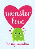 Vector Valentines Day card with heart, cute monster and lettering on hearts background Stock Photos