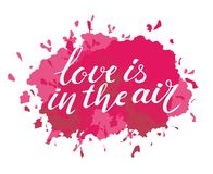 Vector valentines day card, typography poster with handdrawn text and graphic elements. Love is in the air Royalty Free Stock Photos