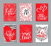 Vector Valentines day cards templates. Hand drawn February 14 gift tags, labels or posters collection. Vintage love. Lettering background stock illustration