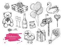 Vector Valentines day collection. Hand drawn Stock Images