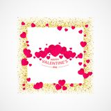 Vector of Valentines day greeting card with gold glitter heart, gold frame, couple of red hearts and words happy. Valentines day on white background Royalty Free Stock Photos