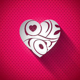 Vector Valentines Day illustration with 3d Love You typography design on heart background. Royalty Free Stock Image