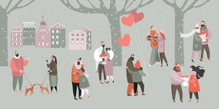 Vector Valentines day Illustration with happy couples with bouquets of flowers and balloons in the city park vector illustration
