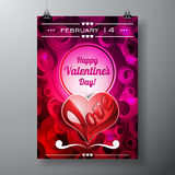 Vector Valentines Day illustration with typography design on violet background. Royalty Free Stock Photo