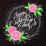 Vector valentines day lettering with a frame, chrysanthemum flower bouquet Stock Images