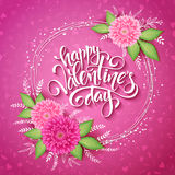 Vector valentines day lettering with a frame, chrysanthemum flower bouquet with doodle branches on pink doodle Stock Image