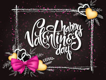 Vector valentines day lettering with a frame, doodle branches, silk ribbon bow, golden hearts. Design for greeting card Stock Image