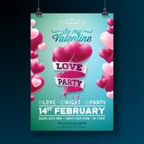 Vector Valentines Day Love Party Flyer Design with Typography and Heart on Red Background. Celebration Poster Template. Vector Valentines Day Love Party Flyer stock illustration