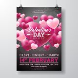 Vector Valentines Day Party Flyer Design with Love You Typography Letter and Heart on Black Background. Celebration. Poster Template for Invitation or Greeting Royalty Free Stock Photo