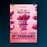 Vector Valentines Day Party Flyer Design with Typography and Balloon Heart on Pink Background. Love Celebration Poster. Template for Invitation or Greeting Card Royalty Free Stock Photography