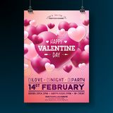 Vector Valentines Day Party Flyer Design with Typography and Heart on Red Background. Celebration Poster Template for. Invitation or Greeting Card stock illustration