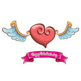 Vector valentines day pink heart with angel wings Stock Photo